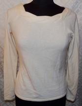 Ann Taylor M 100% Cashmere Sweater Womens Cream Ivory Round Neckline - $44.49