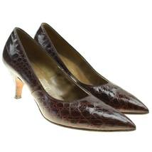 VTG TROYLINGS by SEYMOUR TROY Womens Brown Alligator Croc Leather Heels ... - $44.50
