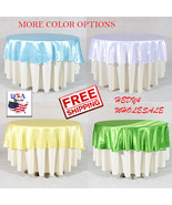 """10 Pieces 108"""" Round Satin Tableclothes Wedding Party Tablecloths Wholes... - $94.99"""