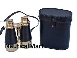 "Nautical Captain's Admirals Brass Binoculars with Leather Case 6"" - $107.91"