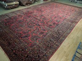 Red Sarouk Persian Wool Handmade Rug 11' x 18' Vivid Red Detailed Original Rug image 5