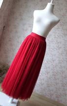 RED Full Tulle Skirts Women Tulle Maxi Skirt Red Wedding Bridesmaid Full Skirts image 2