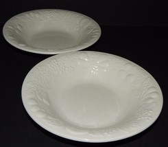 2 Gibson Flourish #2439 Soup Bowls White Embossed Fruit Grapes Apples Ch... - $24.74