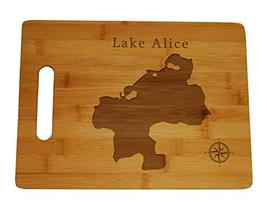 Lake Alice Map Engraved Bamboo Cutting Board 9.75x13.75 inches Florida - $34.64