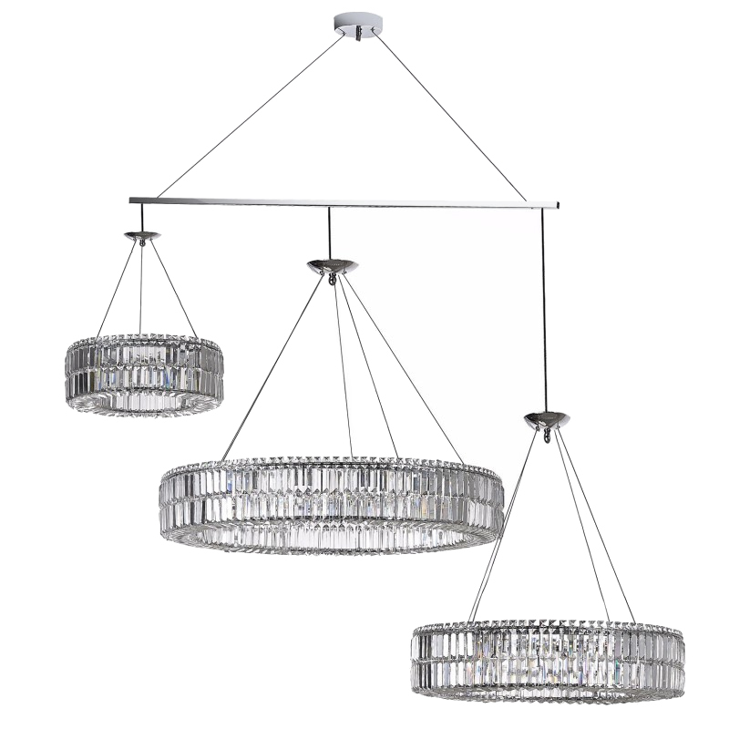 Primary image for AM8003: PWG Lighting Intorno Ring Crystal Chandelier-2-3 Rings Each! $2,050+