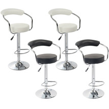 Set of 2 Barstool Chrome Plated Artificial Leather Adjustable Swivel Whi... - $87.99+