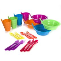 Sip-A-Bowl   Sip-A-Cup with Built in Straw   Kids Cutlery Set of a Fork ... - $22.97