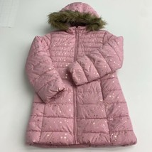 Place Zip Up Puffer Jacket Coat Youth Girls L 10-12 Pink Gold Fleece Fur Hooded - $18.95