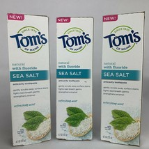 Lot Of 3 Tom's Of Maine Sea Salt Natural Toothpaste Fluoride Refreshing ... - $17.82