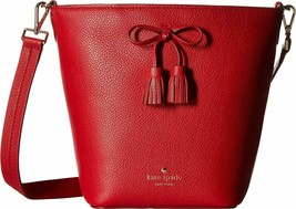 Nwt Kate Spade New York Hayes St Hb Vanessa Crossbody Bow Bucket Bag Red 9169 - $203.94