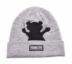 Primitive x Grizzly GripTape Grey Bear Fold Cuff Beanie Winter Skate Hat Skully
