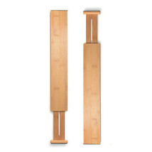 Adjustable Drawer Dividers Set of 2 Bamboo Organizer Kitchen Expandable ... - $25.90