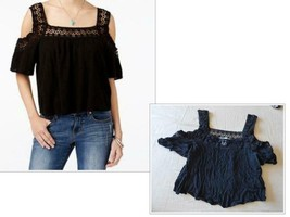 $49.50 American Rag Junior's Crochet Detailing Cold Shoulder Crop Top, B... - $13.25
