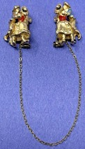 Vintage Goldtone CORO Sweater Guard With Chain And Dancing Couple Design... - $23.70