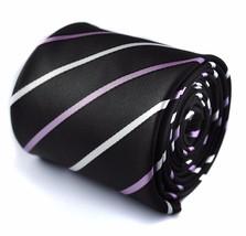 Frederick Thomas black purple & white striped men's tie FT444