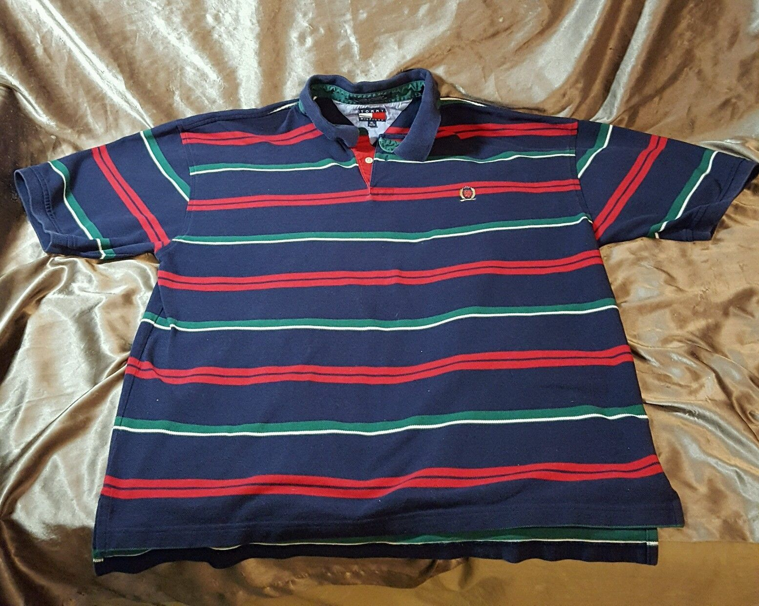 fb05fbe46fe Mens Vintage 90's TOMMY HILFIGER Striped Polo Size Large XL Crest Golf Shirt