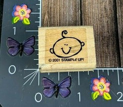 Stampin' Up! Baby Face Smiling Happy Rubber Stamp 2001 Shower Announcement #L6 - $2.23
