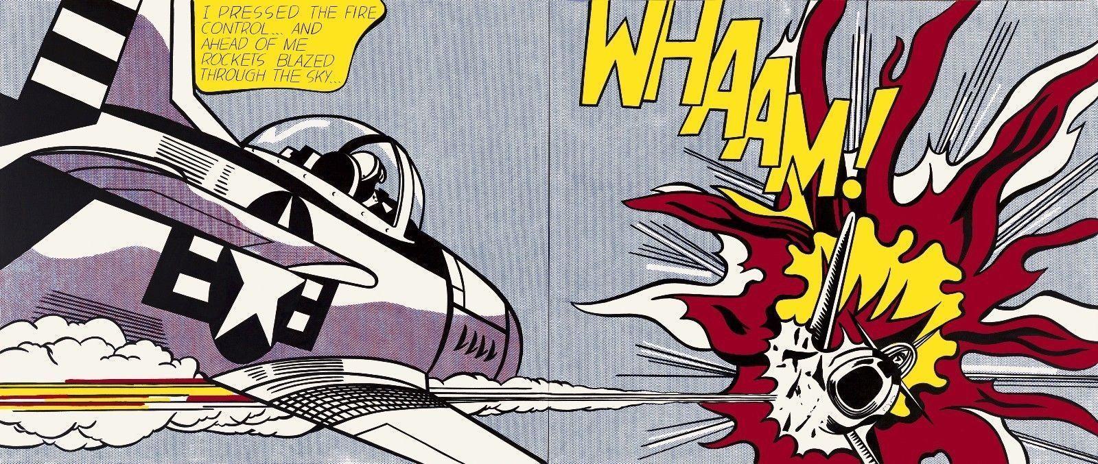 """Roy Lichtenstein """" Whaam, 1963 """" printed on canvas pop art wall painting 55x28"""""""