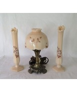 Westmoreland  Almond Milk Glass, Electric Mini Lamp & 2 Bud Vases with L... - $46.00