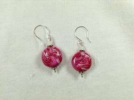 Earrings 20mm Coin Shape Pink And Pearl Drops Handmade Polymer Clay Silv... - £14.52 GBP