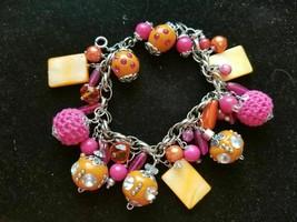 """Beautiful OOAK hand-crafted Bead Bracelet """"Let Summer Begin"""" Orange/Pink - $9.90"""