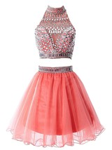 Women's Short Two Pieces Fomal Prom Dresses Tulle Beaded Homecoming Party Dress - $128.99