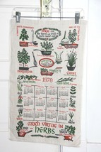 Vtg 1978 Calendar Kitchen Tea Towel Linen  MUCH VIRTUE IN HERBS Great Co... - $5.68