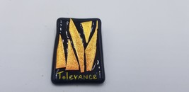 Vintage M.H. Signed Black & Fire Orange Tolerance Square Pin / Brooch 1999 EUC - $19.32