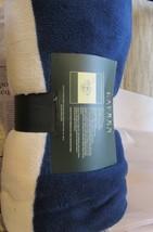 """Ralph Lauren NAVAL SURPLUS Fleece Throw Blanket 54"""" X72"""" WHITE/BLUE NEW... - $49.80"""
