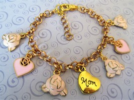 Mom Heart & Roses Bracelet, Mom Word Charm Bracelet, Mother's Day Bracelet, Mom - $12.99
