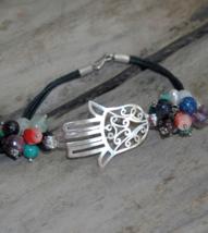 Tribal bracelet, Hamsa bracelet, Sterling silver bracelet,gemstone, leat... - $59.99