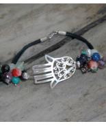 Tribal bracelet, Hamsa bracelet, Sterling silver bracelet,gemstone, leat... - $55.99