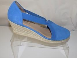 Talbot Blue Suede Slip Ons Wedge Heel Womens Size 9 1/2 M - $31.67