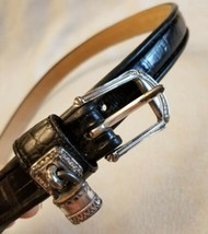 "Brighton Womens Black Leather Belt 32"" Waist Silver Buckle Lock Charm We... - $12.60"