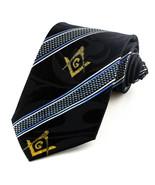 Masonic Society Mens Stripe Neck Tie Mason Necktie Square Compass Gift B... - $15.79