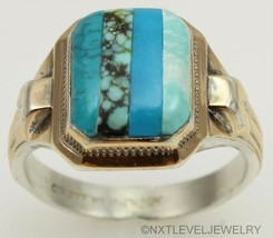Antique SIGNED Ostby & Barton RARE Turquoise Inlay Silver & 10k Gold Men... - $420.75