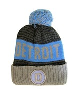 Detroit D Patch Ribbed Cuff Knit Winter Hat Pom Beanie (Gray/Blue Patch) - $11.95