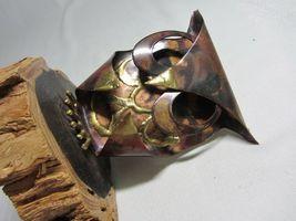 Metal Copper Patina Vtg Owl Figurine on Wood Slice Brutalist Rustic Art signed image 5