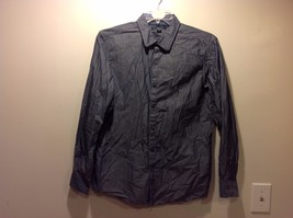 Mens Gray Blue Vertically Striped Button Up Shirt by Marc Anthony Sz L Slim Fit