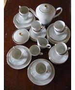 Bavarian 33 pc. Porcelain Demitasse Dessert Tea Set Gold Trim Zeh Scherzer - $225.00
