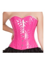 Pink PVC Faux Leather Burlesque Gothic Waist Training Overbust Corset Costume  - $69.99