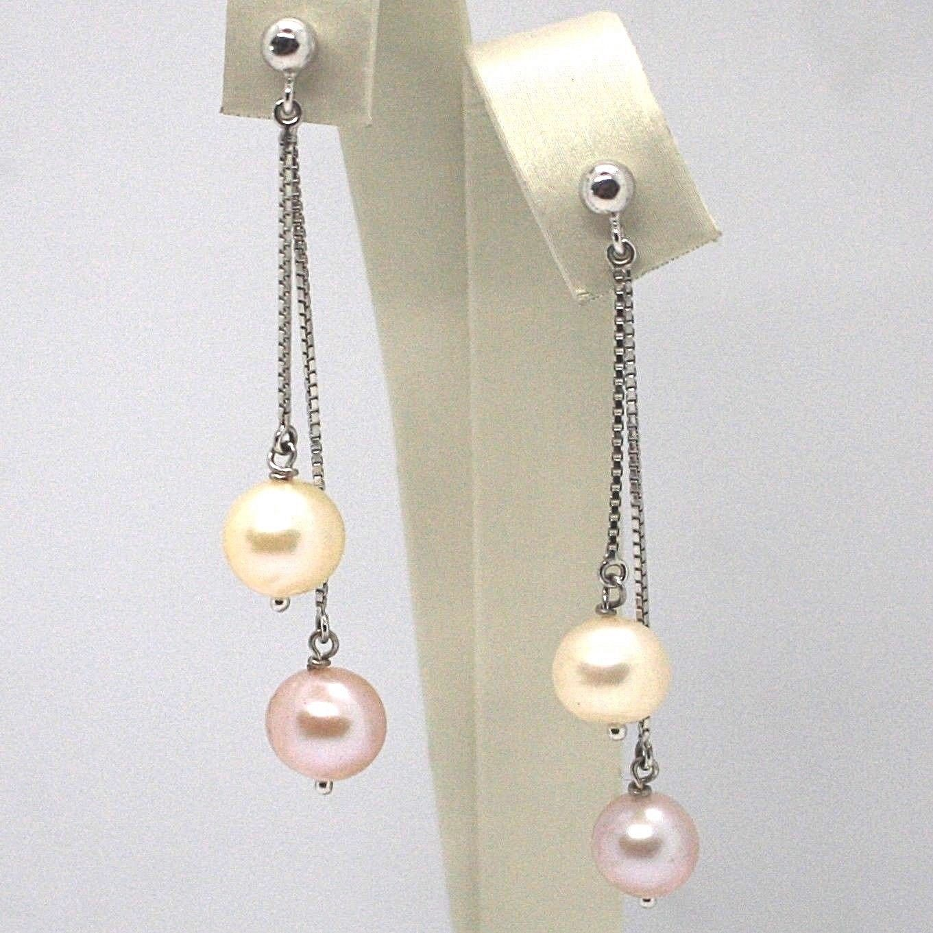 DROP EARRINGS WHITE GOLD 18K, DOUBLE CHAIN VENETIAN, PEARL WHITE AND PURPLE
