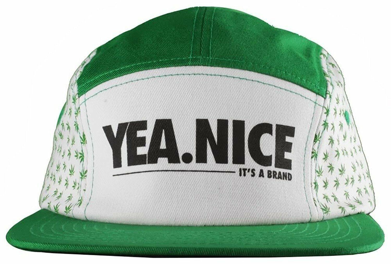 Yea Nice Plantes Flore Weed Marijuana 5 Panneau Strapback Baseball Chapeau Nwt