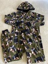 Childrens Place Boys Green Blue Footballs Hooded Fleece Long Sleeve Paja... - $12.13