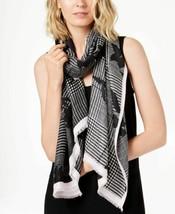 Calvin Klein Floral-Print Plaid Soft Scarf (Black) - $41.68
