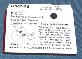 STEREO PHONOGRAPH RECORD PLAYER NEEDLE for RCA 115061 115050 115059 N567-7D image 2