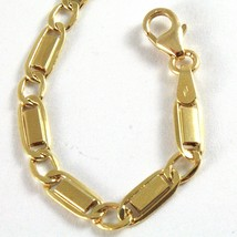 18K YELLOW GOLD BRACELET FLAT ALTERNATE GOURMETTE 4 MM OVAL LINK, MADE IN ITALY image 2