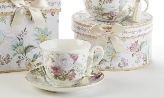 Image 1 of Delton Products Pale Rose 3.6 inches Porcelain Cup/Saucer in Gift Box, 8120-0