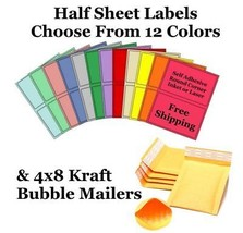 4x8 Kraft  Bubble Mailers + 8.5x5.5 Half Sheet Self Adhesive Shipping La... - $2.99+