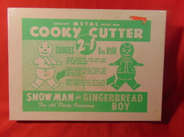 Vintage Tin, Snowman or Gingerbread Boy,  Cookie Cutter, in Original Box - $11.99
